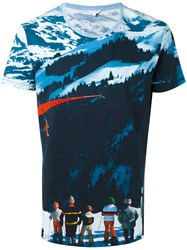 Orlebar Brown All Over Mountain Print T Shirt Men Cotton L Blue