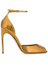 Brian Atwood Snakeskin Effect Sandals Metallic