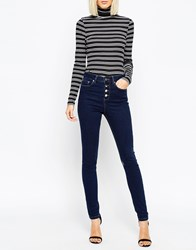 Asos Ridley Jeans In Clean Indigo With Exposed Button Fly Blue