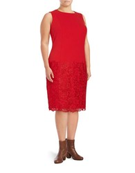 Calvin Klein Plus Lace Trimmed Sheath Dress Red