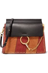 Chloe Faye Medium Studded Suede And Leather Shoulder Bag Black