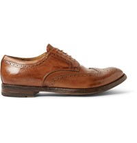 Officine Creative Anatomia Glossed Leather Wingtip Brogues Brown