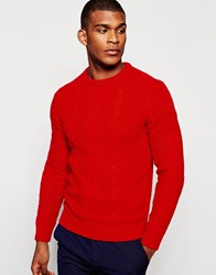Reiss Cable Knit Jumper Red