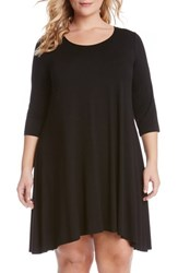 Plus Size Women's Karen Kane 'Maggie' Three Quarter Sleeve Trapeze Dress