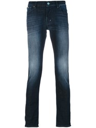 7 For All Mankind Faded Straight Leg Jeans Cotton Spandex Elastane Blue