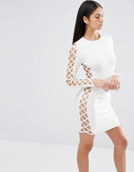 Missguided Premium Bandage Lace Up Side Detail Bodycon Dress White
