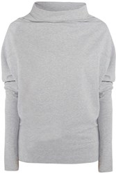 Norma Kamali Convertible Stretch Cotton Jersey Top Gray