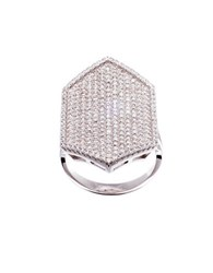 Lord And Taylor Pave Cubic Zirconia Hexagonal Ring Silver