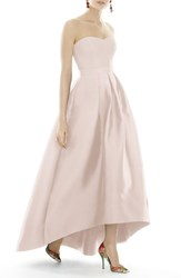 Alfred Sung 'S Strapless High Low Sateen Twill Gown Blush