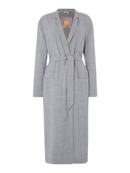 Hugo Boss Long Belted Coat With Lapel Mid Grey