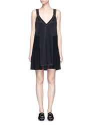 3.1 Phillip Lim Pleated Silk Hem Jersey Tank Dress Black