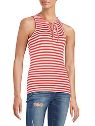Saks Fifth Avenue Red Striped Rib Knit Tank Top Black White