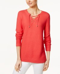 Charter Club Lace Up Split Neck Sweater Only At Macy's New Coral