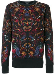 Alexander Mcqueen Embroidered Sweatshirt Cotton Polyester S Black
