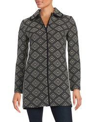 Nipon Boutique Diamond Stitched Snap Front Jacket Black