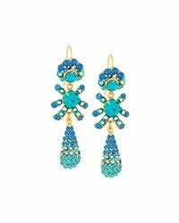 Jose And Maria Barrera Golden Pave Crystal Triple Drop Earrings Blue