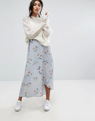 J.O.A Wrap Front Midi Skirt With Tie In Vintage Floral Multi