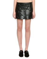 Valentino Scallop Studded Leather Mini Skirt Black