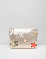 Nali Envelope Clutch Bag With Star Detail Gold
