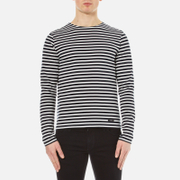 Ami Alexandre Mattiussi Men's Crew Neck Breton Long Sleeve T Shirt Navy White Navy White