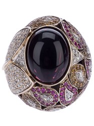 Athena Pink Sapphire And Diamond Robeline Ball Ring Gold Pink Purple