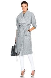 Nicholas Boiled Wool Wrap Coat In Gray