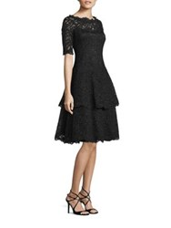 Rickie Freeman For Teri Jon Lace Tiered Ruffle Dress Black
