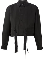 Craig Green Front Tie Cropped Shirt Black