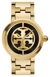 Tory Burch 'Reva' Logo Dial Bracelet Watch 28Mm Gold Black