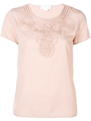 Genny Embroidered Detail T Shirt Nude And Neutrals