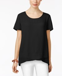 Ny Collection Crossover Top Black