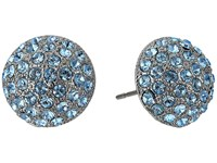 Nina Small Pave Button Earrings Black Rhodium Aquamarine Swarovski Earring Blue