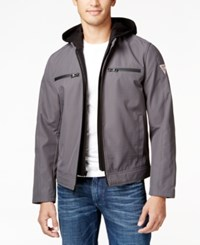 Guess Men's Detachable Hood Full Zip Motorcycle Jacket Charcoal