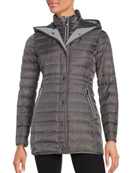 Vince Camuto Mid Length Hooded Puffer Coat Iron