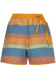 A Peace Treaty Striped Cotton And Silk Shorts Blue