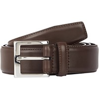 Barneys New York Men's Leather Belt Dark Brown