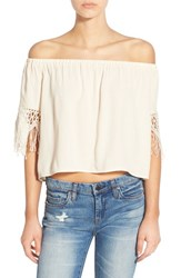 Women's Astr Crochet Fringe Off The Shoulder Top