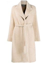 Simonetta Ravizza Shearling Long Coat Neutrals