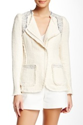 Rebecca Taylor Tweed Zipper Blazer White