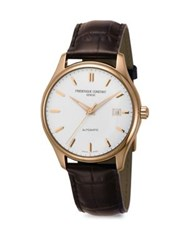 Frederique Constant Index Goldtone Stainless Steel And Alligator Strap Watch Rose Gold