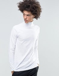 Weekday Turtle Long Sleeve Top Roll Neck White