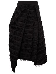 Chalayan Black Fringed Folded Midi Skirt