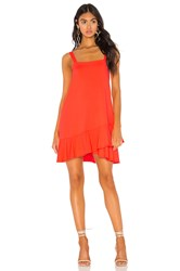 Susana Monaco Crossover Ruffle Wide Strap Dress Orange
