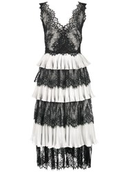 Marchesa Notte Lace Panelled Tiered Midi Dress Black