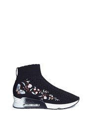 Ash 'Lotus' Floral Embroidered Perforated Knit Sock Sneakers Black