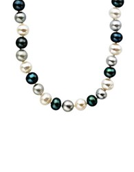 Lord And Taylor Sterling Silver Multi Color Pearl Necklace