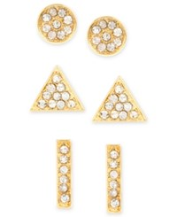 Touch Of Silver Set Of Three Crystal Stud Earrings In 14K Gold Plated Metal