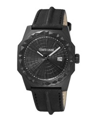 Roberto Cavalli Men's 43Mm Pyramid Bezel Watch W Leather Strap Black