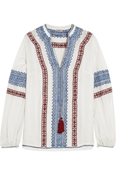 Talitha Kali Embroidered Cotton Voile Top