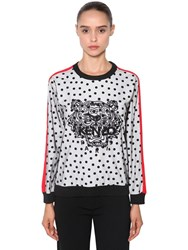Kenzo Tiger Flocked And Embroidered Sweatshirt White Black